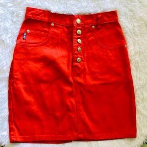 🌞3/$18🌞Vintage sz 3/4 🍒 red denim mini skirt